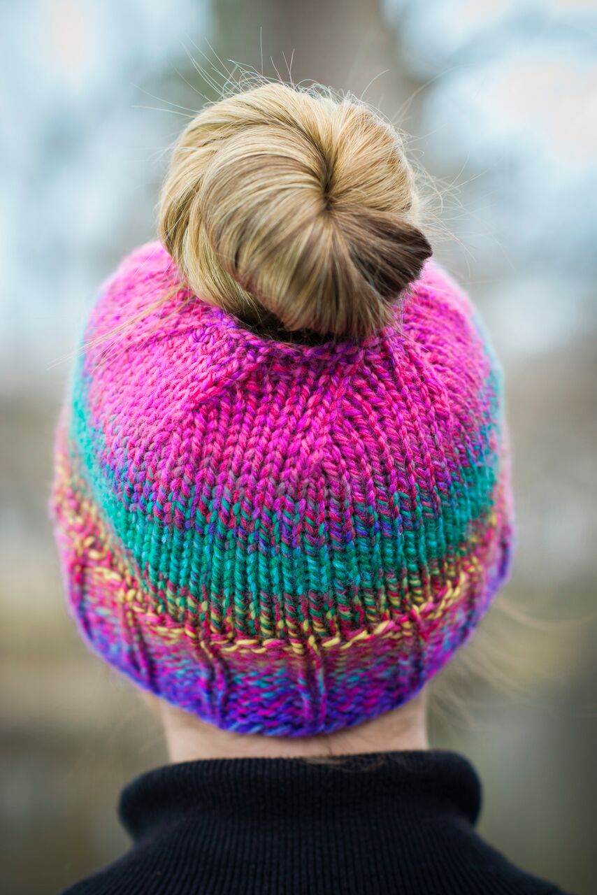 Knitting Pattern: Get-Up-and-Go Messy Bun Hat (perfect for ponytails, too)